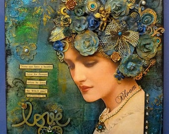 """Mixed media collage on canvas of a vintage style lady entitled 'wild rose' 16 x 16"""""""