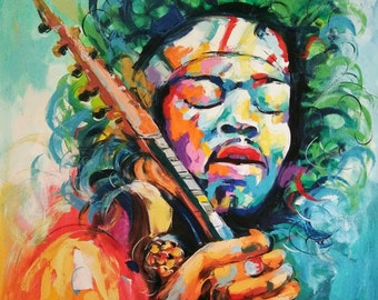 Jimi Hendrix painting,oil painting of Jimi Hendrix, Jimi Hendrix painting by Kampon