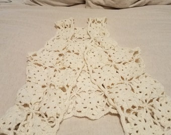 Vintage Vest. Hand crocheted. Cream.
