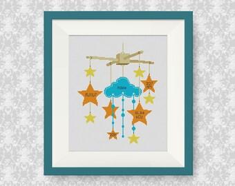 BUY 2, GET 1 FREE! Stars Baby Announcement Cross Stitch Pattern, Customisable Cross Stitch Pattern, Newborn cross stitch pattern, #P274