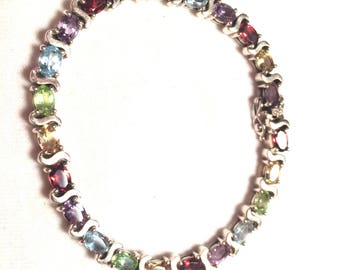 925 sterling silver multi stone / gem bracelet