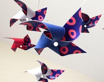 Twist 1 - Phish inspired pinwheel baby mobile /  Navy, Gray & Red /  nursery decor / baby shower gift / Donut baby mobile / Phish Baby