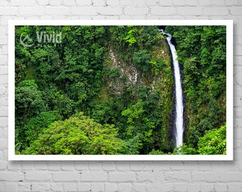 Green wall art, waterfall photography, tropical jungle, framed art print, waterfall picture, living room decor, lush rainforest, 9x9, 16x16