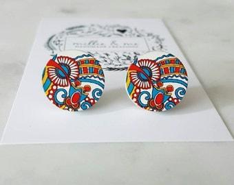 Retro wooden disc earrings