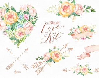 Love Kit Blush. Watercolor flowers Clipart, arrows, heart, bouquets, peonies, bridal, valentines, wedding, floral, banner, card, soft, peach