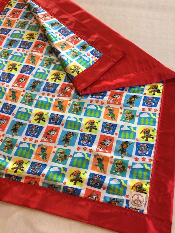 Paw Patrol silky blanket, Baby blanket, Silky blanket, Stroller blanket, Lovey, silky, Homemade.
