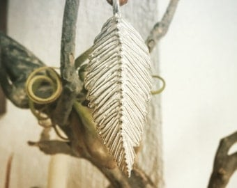 sterling silver maxi feather