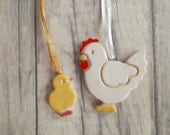 Chicken and chick Easter decoration, Easter tree ornament, Easter chick, mother hen, kitchen ornament