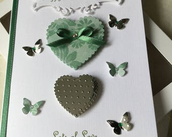 Handmade Personalised Boxed Green and Silver Hearts Card Birthday Anniversary Wife Daughter Sister Aunt Friend Mother Girlfriend