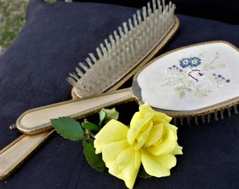 Ladies Two Piece Brush Set - Nylon Bristles and Embroidered Backing