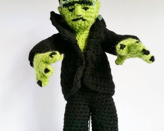 REDUCED! Amigurumi Angel, Devil, or Frankenstein's monster incl stand