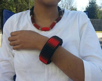 Black and Red Ombre Knit Polymer Clay Bracelet and Necklace Set