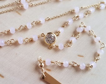 Pink Chalcedony Spike Rosary