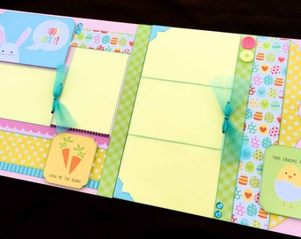 12x12 Easter Scrapbook Page Kit, 12x12 Premade Easter Scrapbook, 12x12 Premade Scrapbook pages, 12x12 Scrapbook Page, Scrapbook Premade Page