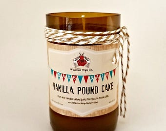 Vanilla Pound Cake Scented Soy Candle: 6 oz Soy Candle in Upcycled Beer Bottle, Bake Sale Collection, Bakery Candle