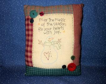 Snowman Pillow, Snowman, Stitchery Pillow, Christmas Decor, Primitive Pillow, Winter Decor
