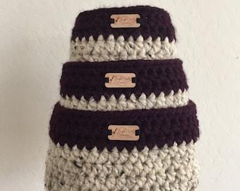 Set of Square Nesting Baskets, crochet nesting baskets