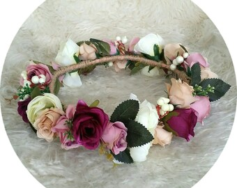 In Whimsy.. Make me Blush Maroon Flower Crown