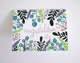 Congratulations flora greeting card - hand painted individual card 5.5 x 4