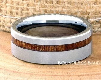 Tungsten Ring Tungsten Wedding Ring Men Women Wedding Bands  Koa Wood  Inlay Wood Ring Promise Anniversary Engagement 8mm Matching Ring Set