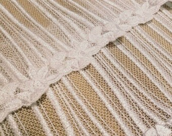 Vintage lace trim wide lace trim 5.5 inches wide x 2 metre length . White lace. French