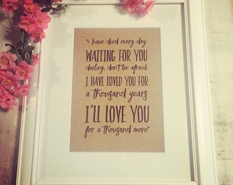 """Your choice of Song Lyrics framed & mounted in a Beautiful white wooden 8x10"""" frame. Valentine's day gift"""
