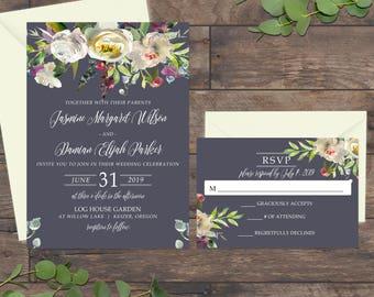 Wedding Invitation Suite, Wedding Invitations, Floral Wedding Invitation, White Peonies Watercolor 077