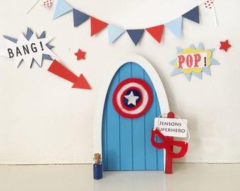 Captain America superhero door/ fairy door/ tooth fairy door