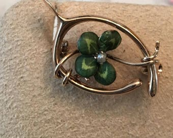 Art Nouveau 10k yellow gold Wishbone Pin with a Green Enameled Shamrock 4 Leafed Clover with Seed Pearl Center