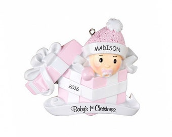 Personalized Baby in Present First Christmas Ornament - Pink