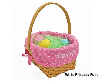 Personalized Woodchip Easter Basket - Pink with White Polka Dots, Large