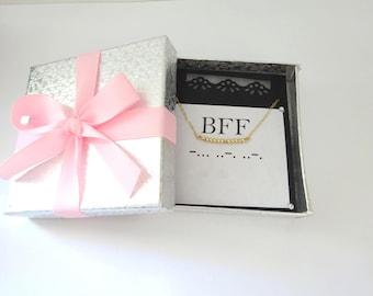 BFF Morse Code Necklace, Best Friend gold necklace, BFF Jewelry in Rose gold, Friendship Necklace in Silver, Best Friend Birthday gift