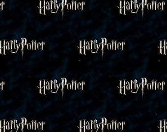 Harry Potter  Fabric / Hogwarts /  Logo Classic Black  Digitally Printed Yardage / Camelot 2380111J / Fabric By The Yard & Fat Quarters