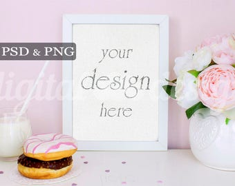 Peony Donut & Milk Vertical Mockup Frame Feminine Styled Stock Photography Download Frame Empty Art Frame Product Digital Background Photo