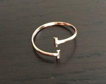 14k solid rose gold open ring, gold bar ring