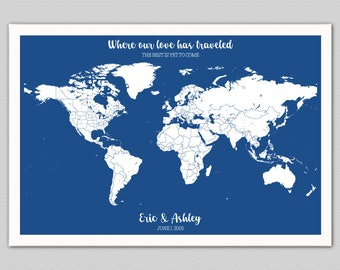 Personalized World Map with Pins, Custom Push Pin Map, Unique Anniversary Gift for Her, Gift for Couple, Gift for Him, Other Maps Available