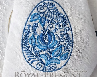 Machine Embroidery Design Blue Gzhel Easter Egg