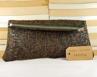 CLEARANCE SALE! Handcrafted Repurposed Fabric Foldover Soft Clutch