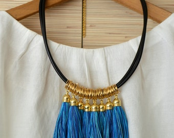Gold statement necklace Tassel necklace Fringe necklace Blue tribal necklace Gold fringe jewelry Boho chic necklace Christmas gift for her