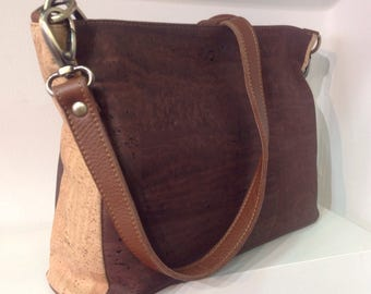 High quality brown and natural cork handbag with 2 removable straps