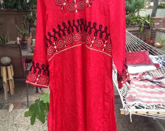 Red Silk Indian Dress