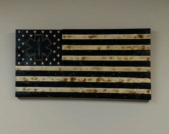 Torched Rustic EMS American Flag