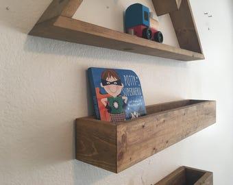 Floating Book Shelf (shadowbox shelf, floating shelf, wood shadowbox, wood wall shelf, floating wood book display)