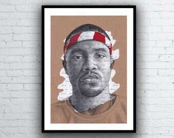 Frank Ocean Portrait Drawing - Giclée art print with Thinkin' Bout You Lyrics Background - A5 A4 A3 Sizes limited edition signed