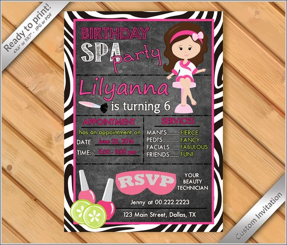 personalized invitation spa party invitations for girls makeover