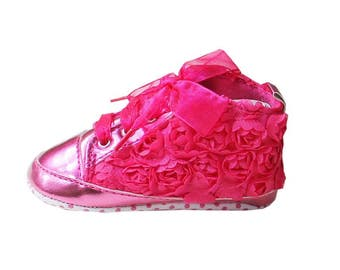 Baby Girls Hot Pink Rosettes Bling Crib Shoes- Baby Shoes - Soft Sole Baby Girl Shoes