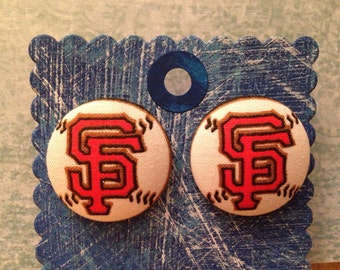 San Francisco Giants Earrings, covered button earrings, MLB, fabric earrings