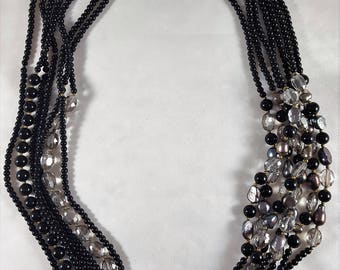 Black Crystal & Beads Necklace