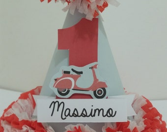 1st First Birthday Custom Made  Vespa Personalized Name Party Hat Smash Cake High Chair Photo Shoot Birthday Decor