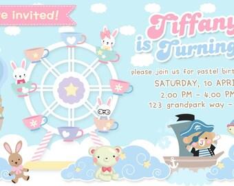 EDITABLE Instant Download DIY Birthday Party Invitation Template, Cute cartoon animal in soft blue Bear, Bunny Rabbit in Ferris Wheels